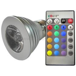 Żarówka  E27 RGB LED + PILOT 230V 3W