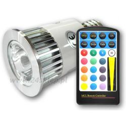 ŻARÓWKA  E27 RGB LED + PILOT 230V 5W